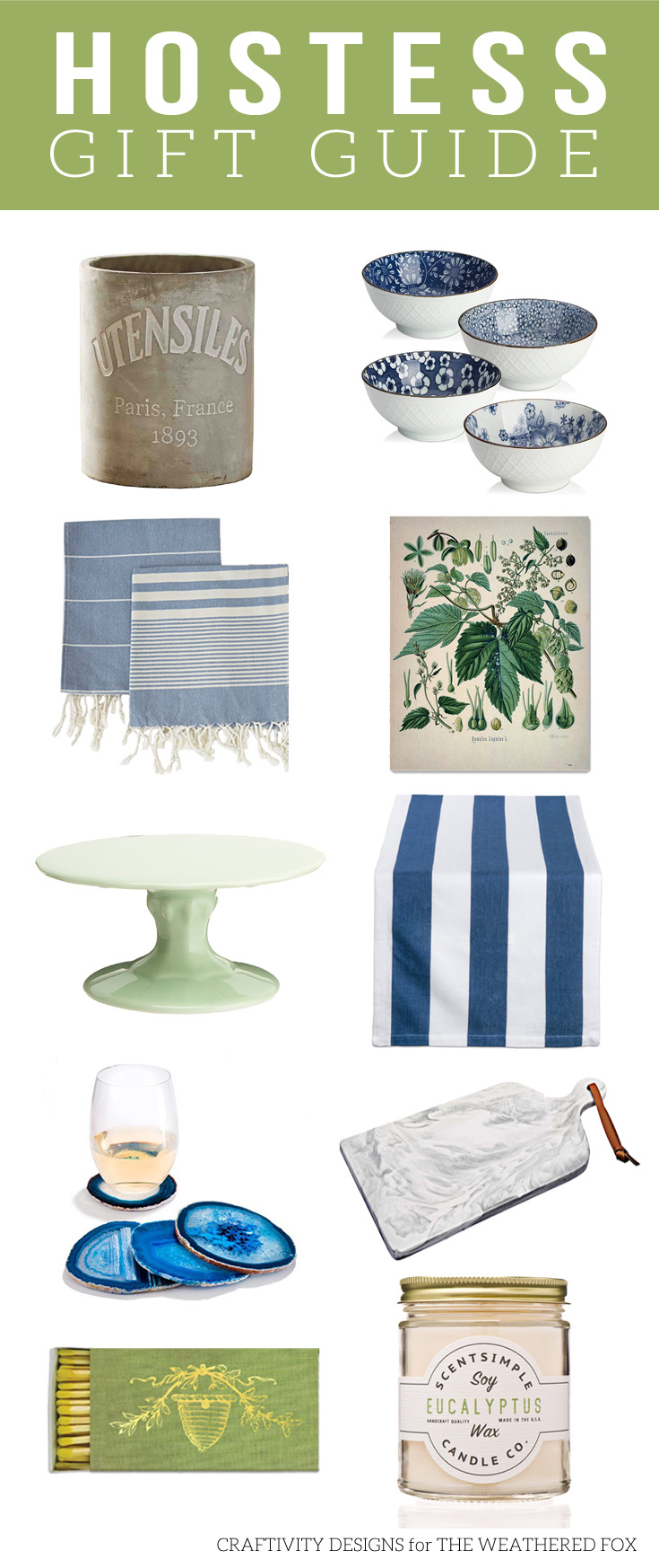 Hostess Gift Guide. Blue and Green. Farmhouse, Eclectic. Kitchenware, Servingware.