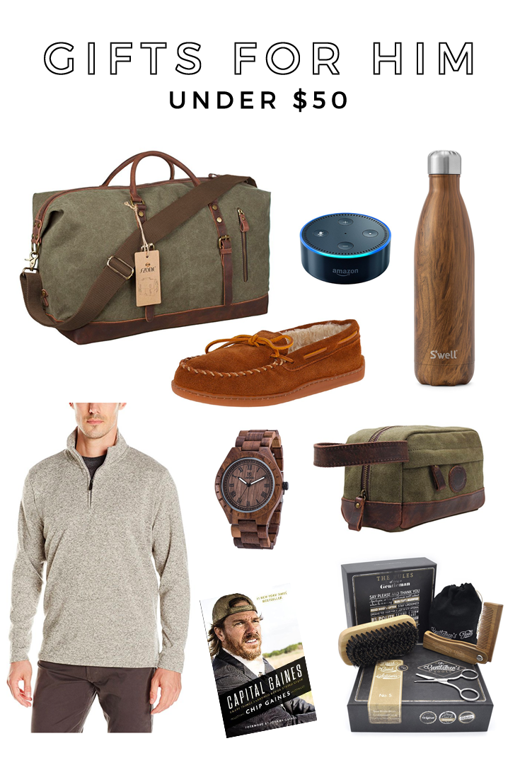 Gifts for Him under $50! Gifts for husband, gifts for boyfriend, gifts for men, gift guide for men, gift guide for him under $50