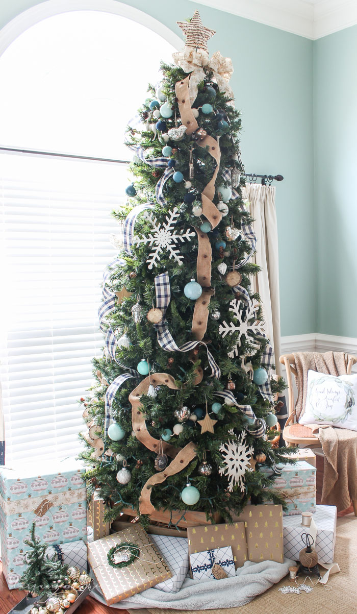 The Turquoise Home Navy Buffalo Check Turquoise Farmhouse Christmas Tree