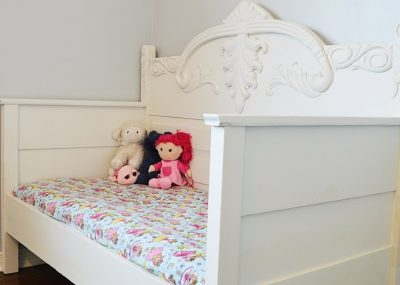 Toddler daybed from an antique bedframe