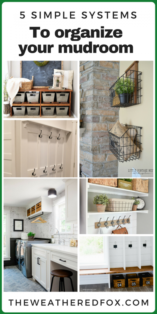 Simple systems for mudroom organization. Entryway organization tips. Laundry room storage options.