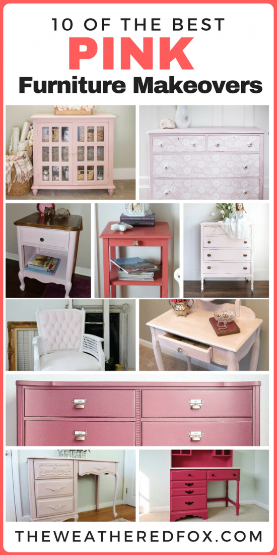 10 of the best pink furniture makeovers. Chalk paint. Farmhouse decor. Shabby chic