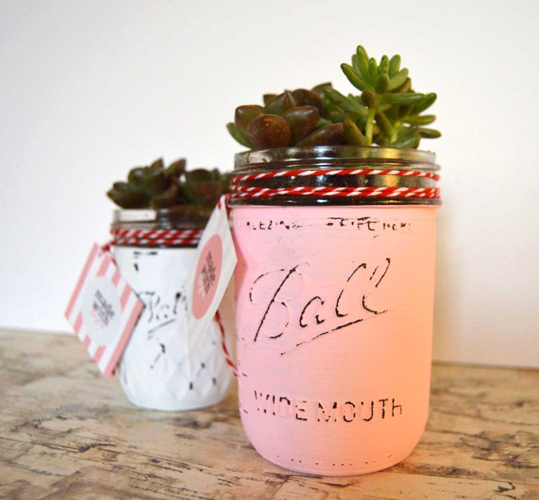 chalkpaint-mason-jar-succulents-9 - The Weathered Fox