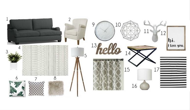 cozy living room mood board