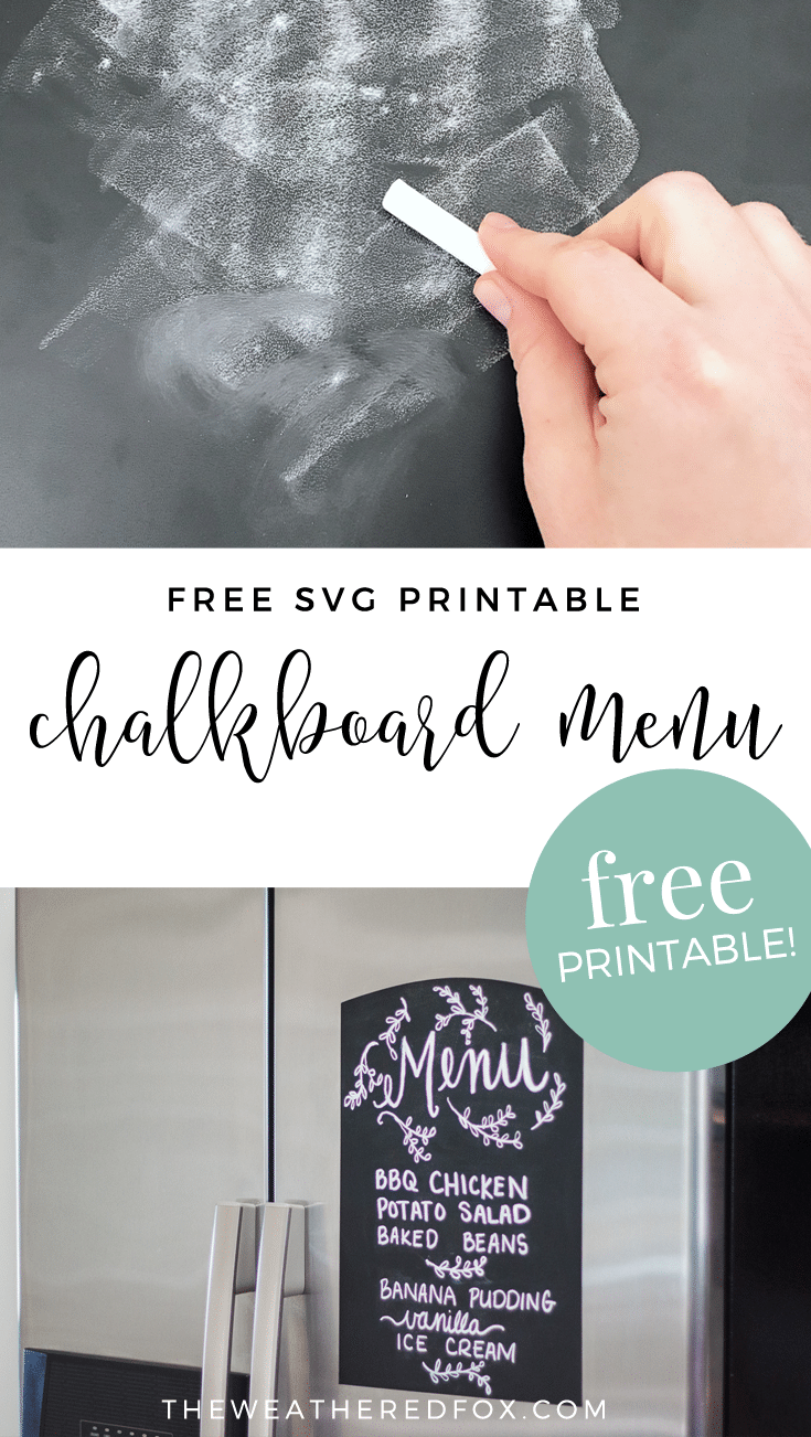 Free SVG Printable Chalkboard Menu using chalkboard vinyl and a cricut or silhouette machine. Free SVG file! Free cut file! Meal plan menu, chalkboard menu.