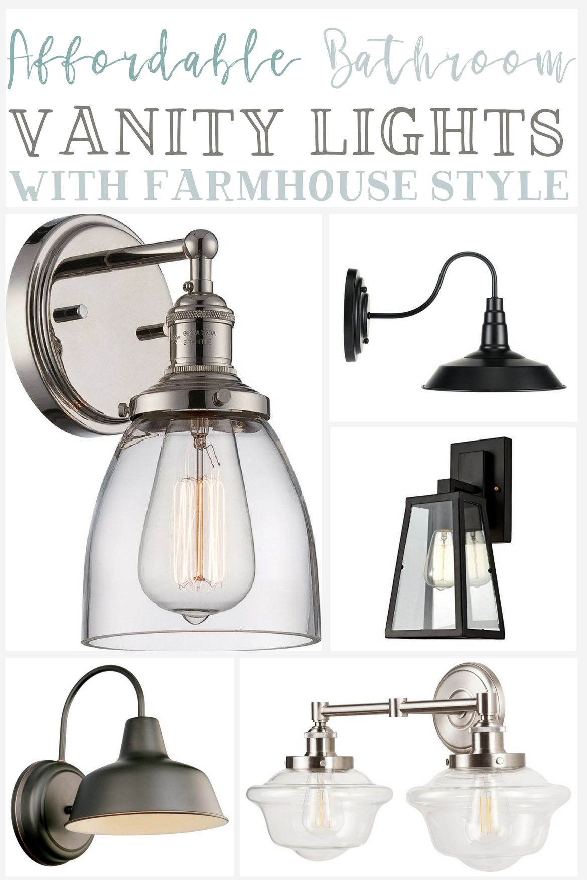 Affordable farmhouse bathroom vanity lighting the weathered fox ive found some gorgeous wall sconces exposed bulb fixtures modern style sconces and multiple bulb fixtures my favorites include this industrial 2 light aloadofball Image collections