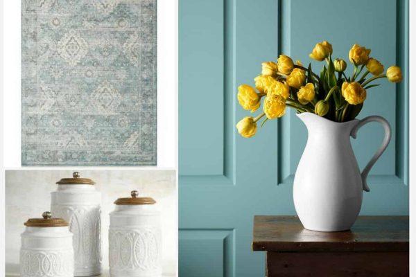 Colorful farmhouse spring decor to brighten up a neutral home