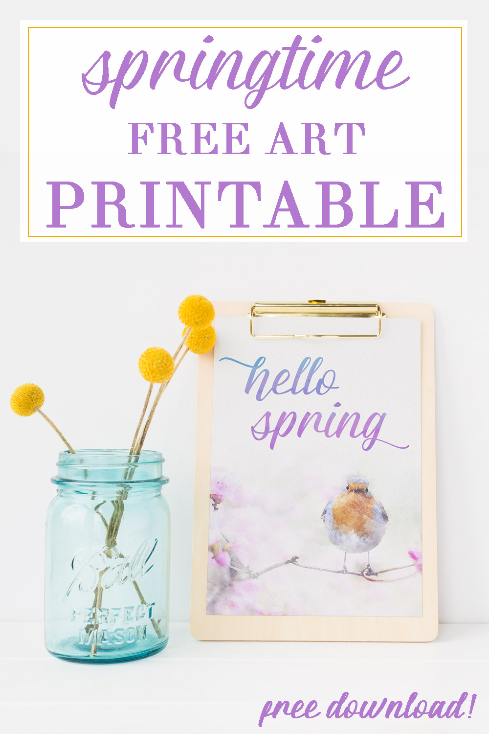 Looking for easy, affordable spring art? This gorgeous watercolor is free for you to download at www.theweatheredfox.com #spring #printable #decor