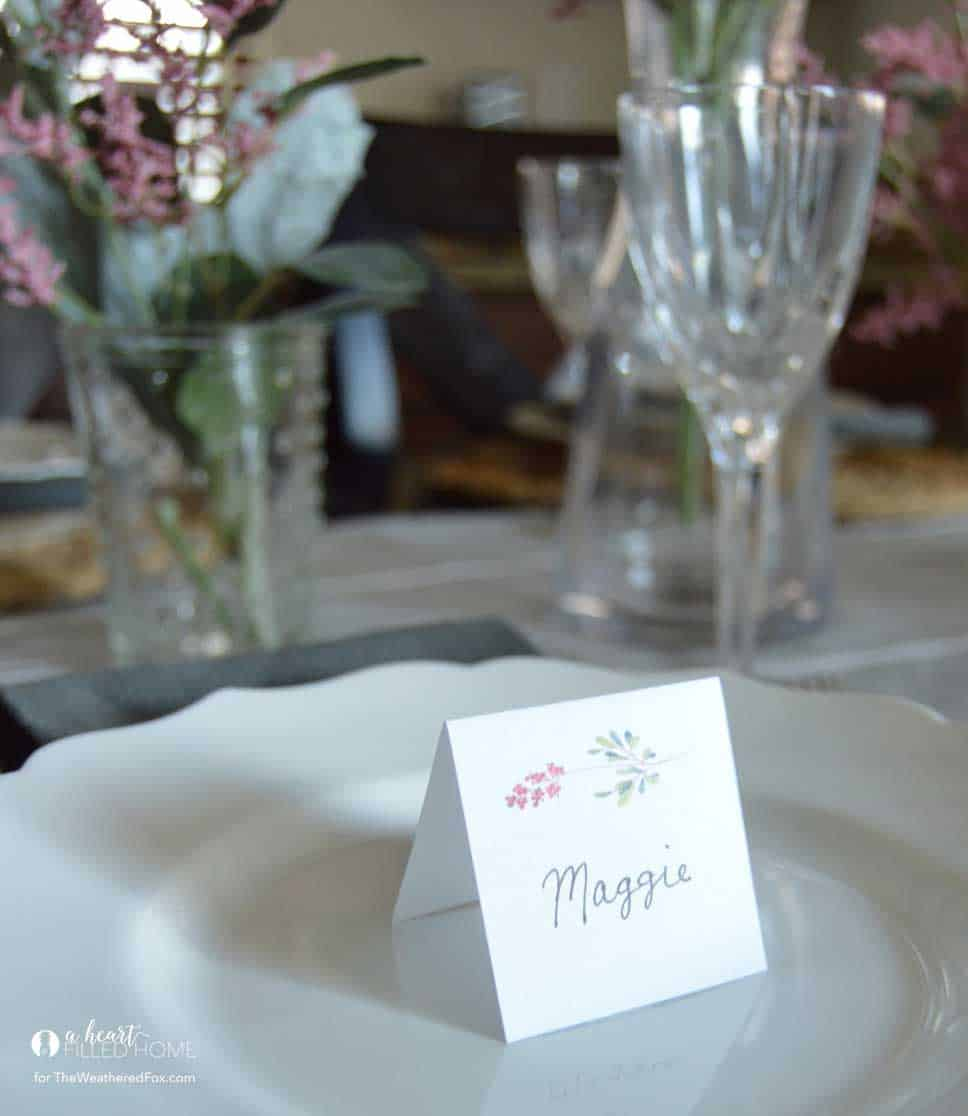 Spring Tablescape with free printable place cards!
