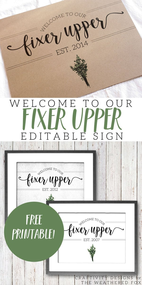 Welcome to Our Fixer Upper Free Printable Farmhouse Sign
