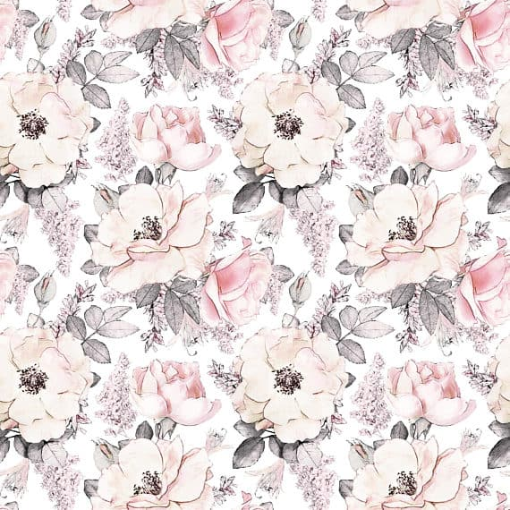 Removable Wallpaper Large Pink Flowers