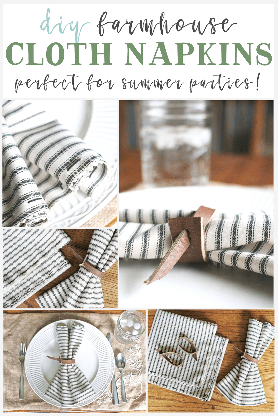 Set a farmhouse style table with DIY cloth napkins. Napkins made with ticking fabric are a simple and charming table linen.