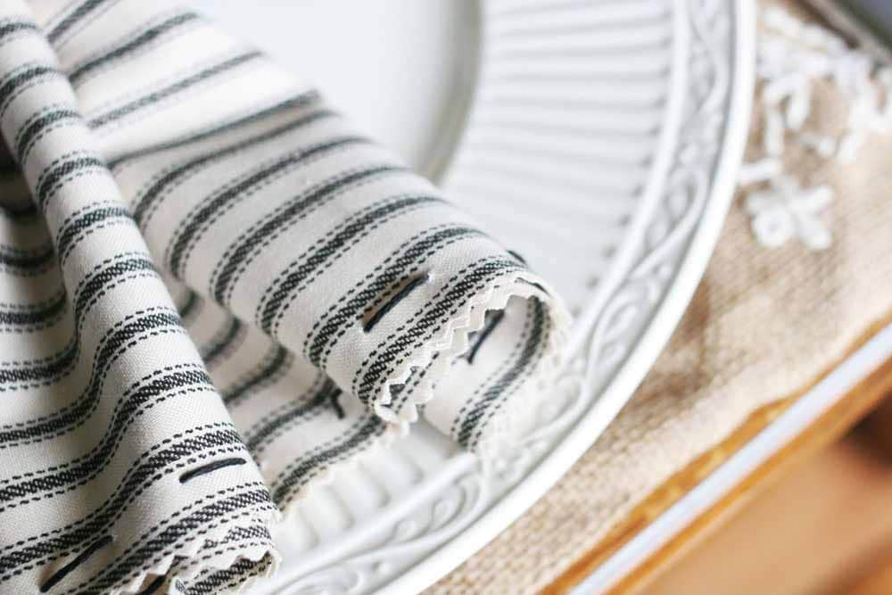 diy cloth napkins, ticking